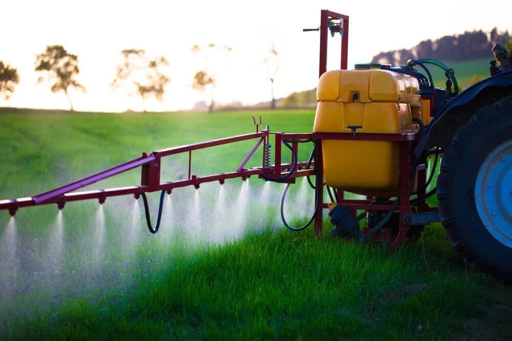 Photo of a machine spraying herbicides